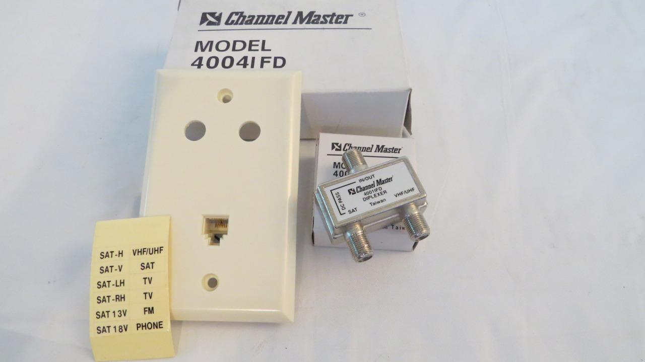 08-0531-1 southsanta Channel Master 4004IFD U/V Antenna Coax Satellite Diplexer 2 way Splitter 75 Ohm