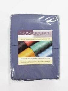 Homesource-100-algodon-800-Hilos-King-Funda-De-Almohada-Par-2-Denim-Azul-Suave