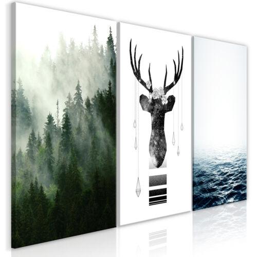 Wandbilder xxl Poster Wald Meer Leinwand Bilder Hirsch Wohnzimmer n-C-0194-b-e
