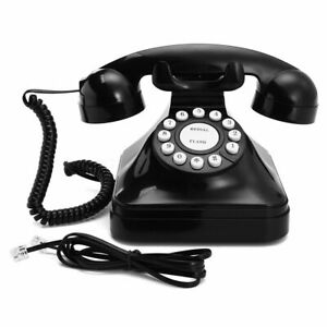 Details about Home Retro Vintage Corded Telephone Home Black Old Fashioned  Rotary Phone