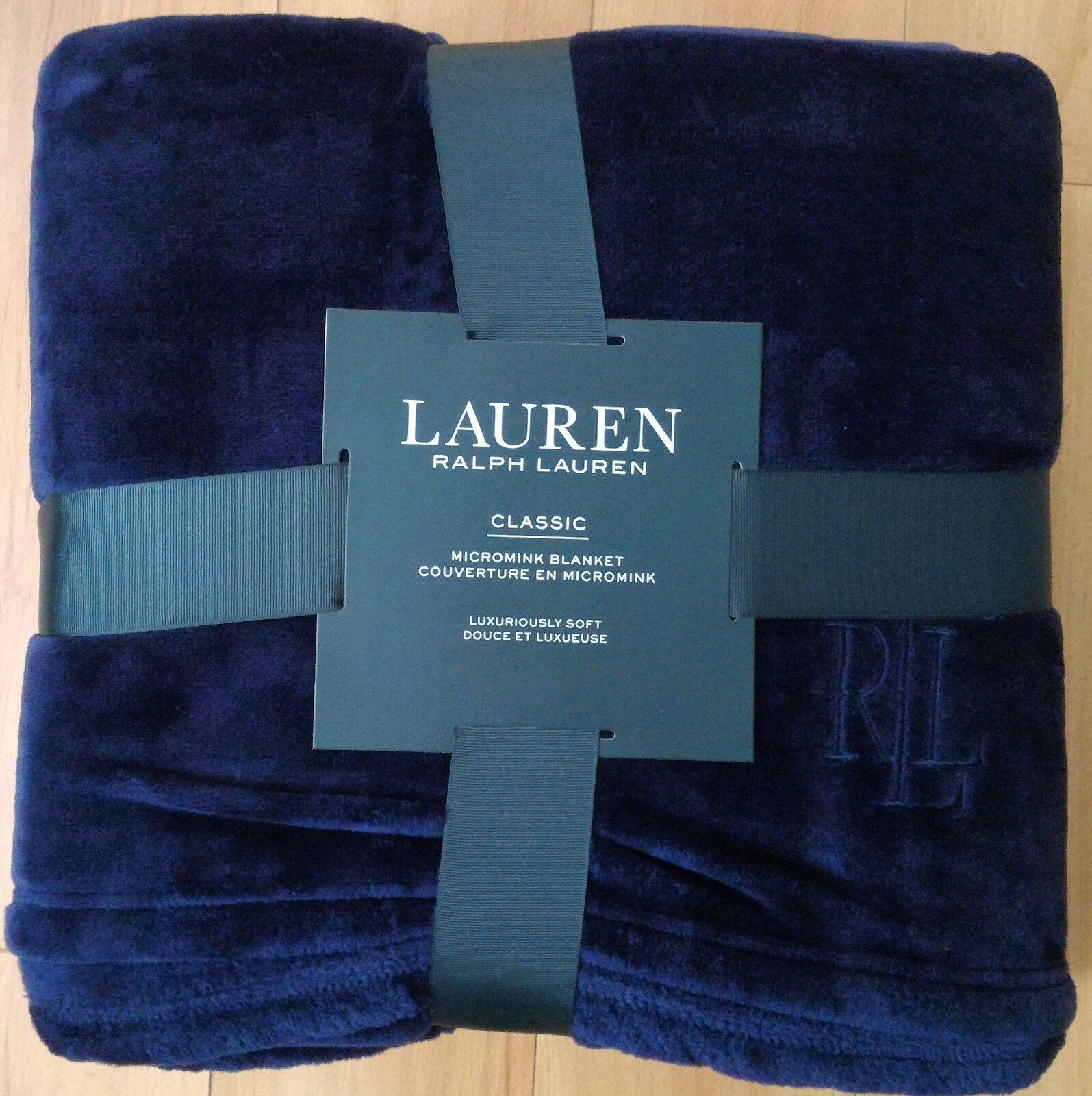 Ralph Lauren Blanket FULL QUEEN Micromink Classic Luxurious Plush 90x90 bluee