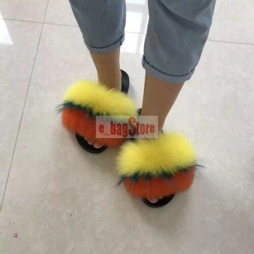 Women BIG Fluffy Real Fox//Raccoon Fur Slides Slipper Outdoor Flat Shoes Sandals