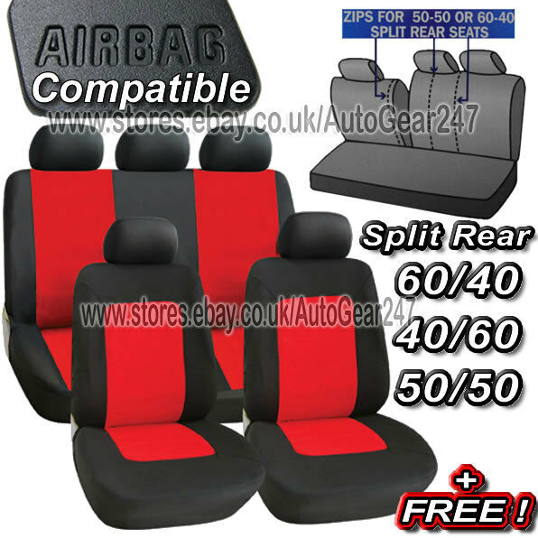 11pc Black Red Air Bag Friendly 5 Headrest Split Rear Car Full Seat Covers Set