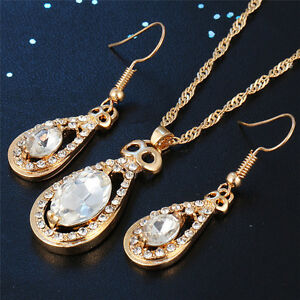 1 Set Drop Earrings Necklace Crystal Chain Pendant Jewelry Sets Decoration