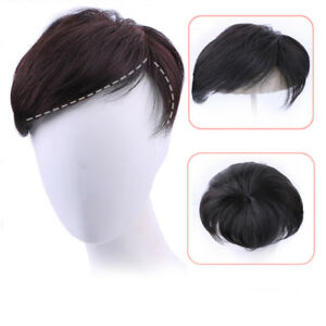 Details about Men 100% Real Human Short Hair Clip In Topper Top Toupee Wigs  Bangs Hair Piece 964ad5a42008