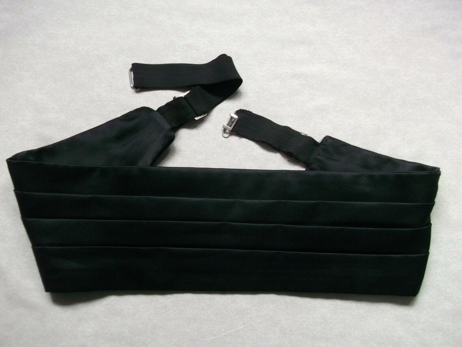 Cummerbund MENS Broad Sash Adjustable PLEATED Black Vintage Retro 1980s 1990s