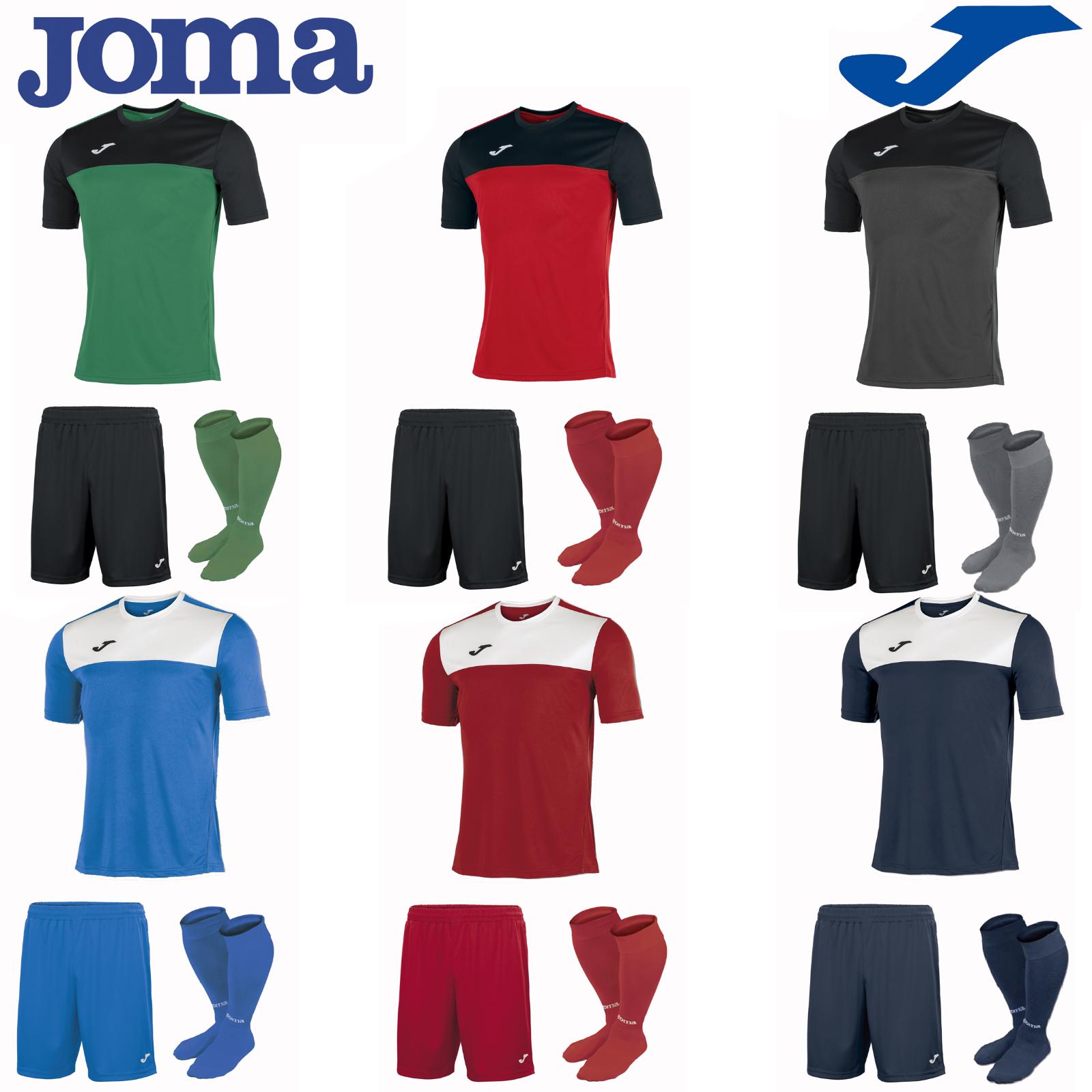 JOMA Completo Calcio Kit del Team Sports Striscia Calze da Uomo Camicie Di Formazione Pantaloncini