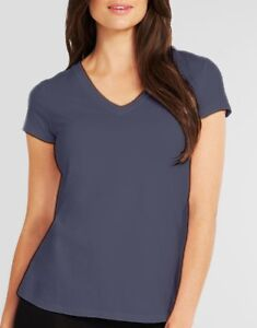 LADIES-V-NECK-95-Cotton-T-Shirt-Blue-Tee-SHORT-SLEEVE-Figleaves-NEW