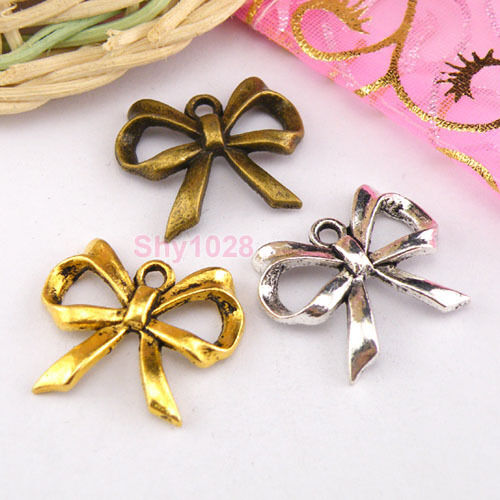6Pcs Tibetan Silver,Gold,Bronze Bow Knot Charms Pendants 19x22mm M1256