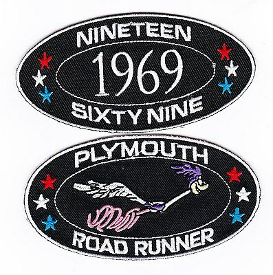 1969 PLYMOUTH ROADRUNNER SEW//IRON ON PATCH EMBLEM BADGE EMBROIDERED 440 MAGNUM