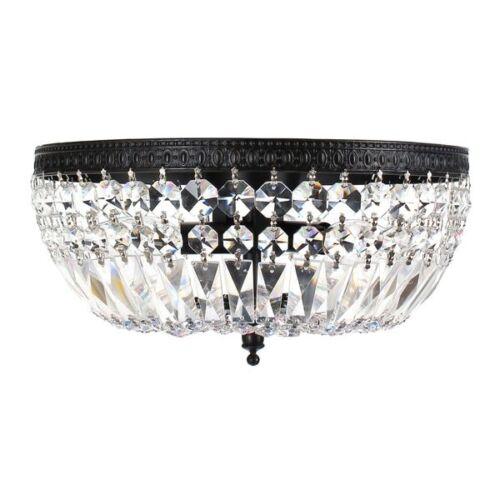 Crystal Basket Flush Mount 3 light Chandelier Ceiling Antique Black Finish Metal