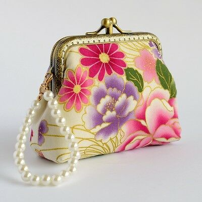 Hand crafted purple Japanese floral coin purse collectable #0137