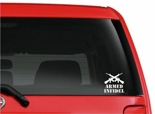 Armed Infidel cut vinyl window//bumper sticker