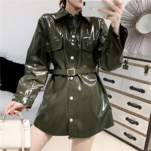 Women Slim Jacket Belt Patent Leather Midi Shiny Coat Trench Single Breasted New