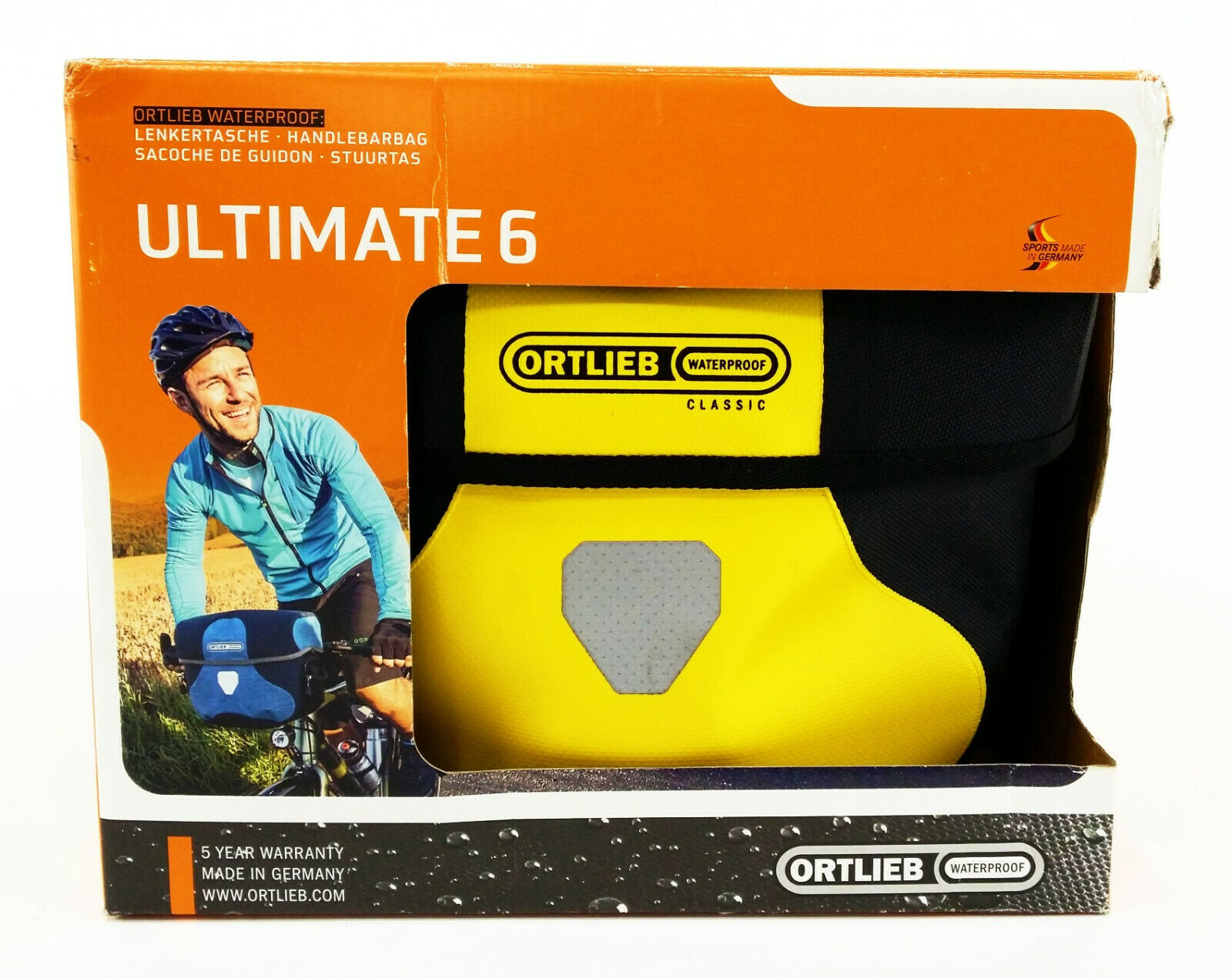Ortlieb Ultimate 6 M Classic Waterproof Bicycle Handlebar Bag, Yellow