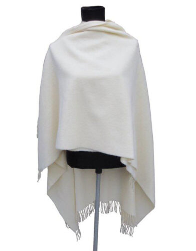 100/% Lambswool Wool Cape Wrap Ivory Beige RRP £70 Gorgeous Quality NEW Blanket