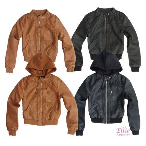 S//M//L Women/'s Faux-leather Moto Biker Jacket with Detachable hood Black//Cognac