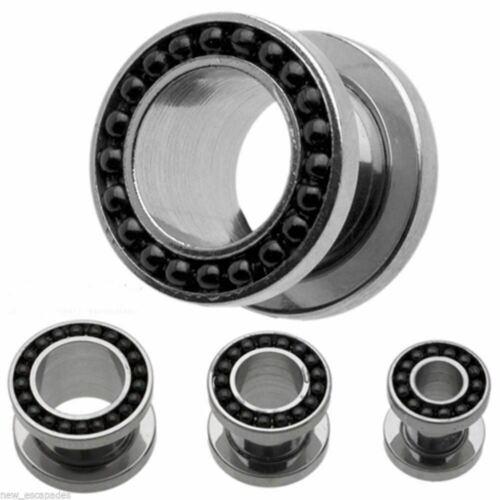 """PAIR-Chain Black On Steel Screw On Ear Tunnels 19mm//3//4/"""" Gauge Body Jewelry"""