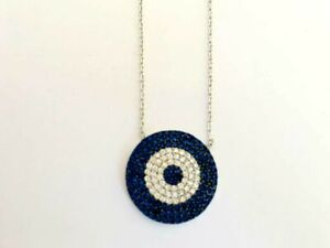 925-Sterling-Silver-Evil-Eye-Large-Necklace-Mati-Blue-Crystal-Cubic-Zirconia-CZ