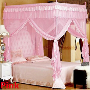 Mosquito-Net-Bed-Canopy-lace-Luxury-4-Corner- & Mosquito Net Bed Canopy-lace Luxury 4 Corner Square Princess Fly ...