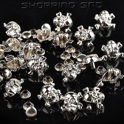 DIY Silver/Gold Skull Cross Bone Metal Studs Spots Spike Rivets Nailhead 10mm