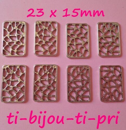 LOT de 16 CONNECTEURS RECTANGLES 23x15mm ARGENTES création bijoux sautoirs