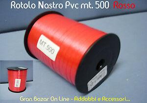 NASTRO-da-REGALO-e-per-PALLONCINI-ROSSO-500-mt-5mm-PVC-LUCIDO-RESISTENTE-DECORA