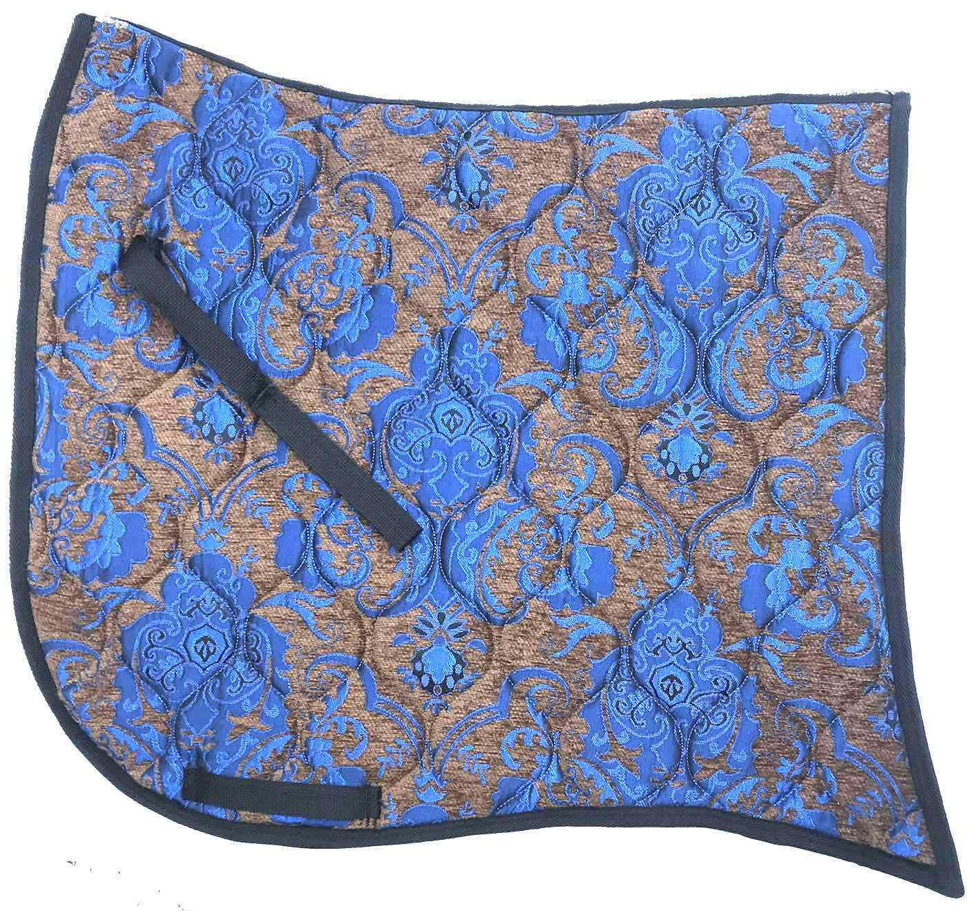 SWALLOW TAIL   BROWN WITH blueE   CHENILLE  BAROQUE DRESSAGE SADDLE PAD