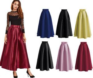 Muslim-Women-Stretch-High-Waist-Skater-Flared-Swing-Long-Maxi-Skirts-Dress-Islam