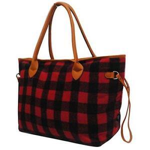 NGIL-Red-Black-Buffalo-Plaid-Tote-Purse-Overnight-Travel-Carry-On-Bag-Free-Ship