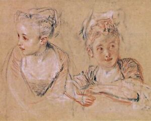 Drawing-of-young-girl-by-Jean-Antoine-Watteau-Children-Repro-Canvas-or-Paper