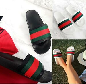 LADIES-BEACH-SUMMER-HOLIDAY-COMFY-DESIGNER-STYLE-STRIPE-SLIDERS-WOMEN-SHOES-SIZE