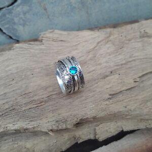 Topacio-azul-solido-de-plata-esterlina-925-Anillo-de-declaracion-de-meditacion-Spinner-V878