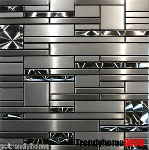 Image Is Loading SAMPLE Stainless Steel Metal Pattern Mosaic Tile Kitchen