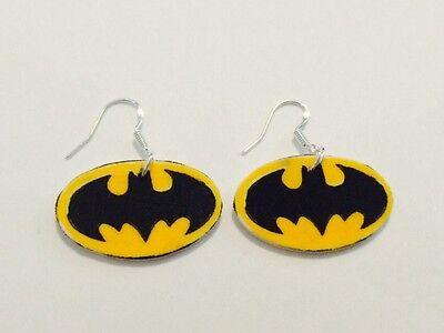 Batman Logo Earrings HANDMADE PLASTIC CHARMS Comics DC Marvel Superman Joker