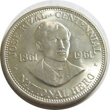 elf Philippines 1 Peso 1961 Silver Dr Jose Rizal