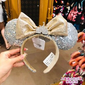 Details about  /Bow Mickey Sequins Minnie Ears Castle Jewel Silver Disney Parks Headband #80