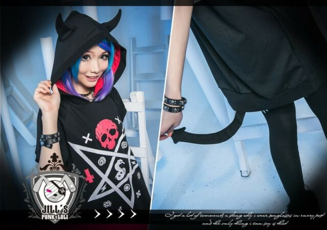 american street punk cartoon HELL BOY black magic square devil hoodie JNC0046 BK
