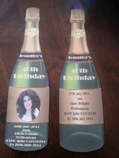 PERSONALISED CHAMPAGNE BOTTLE BIRTHDAY/ HENS NIGHT/BRIDAL SHOWER INVITATIONS