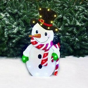 28 led glittering metal snowman with candy outdoor christmas decor yard art ebay. Black Bedroom Furniture Sets. Home Design Ideas