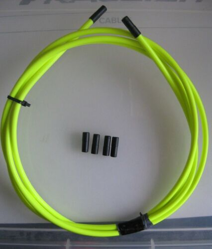 2 METRES 5mm Neon YELLOW Outer Brake Cable with 6 Black End Ferrules **NEW**