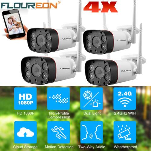 4X FLOUREON WIFI IP Kamera CCTV 1080P Sicherheit ÜBerwachungskamera Nachtsicht