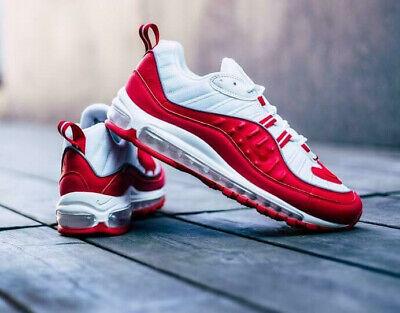 Nike Air Max 98 Herren Rot Turnschuhe Lifestyle Sneakers UK 8.5 US 9.5 Eu 43 | eBay