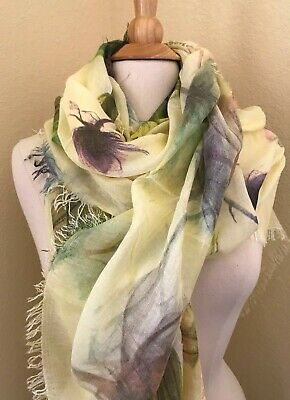 Woman/'s Fashion Scarf 100/% Made in Italy Beach Wrap white and Gray Florall
