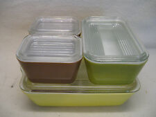 Pyrex Yellow, Green, Brown Refrigerator Storage Containers 503, 502 & Two 501's