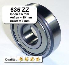 4 Stk. Radiales Rillen-Kugellager 635ZZ - 5x19x6, Da=19mm, Di=5mm, Breite=6mm