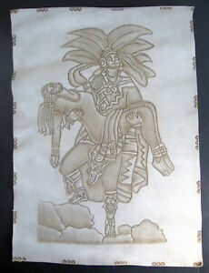 MAYAN-AZTEC-INCA-Suede-Leather-Hide-Hand-Drawn-Art-19-inch-mexican