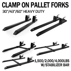 "60"" 1500/4000lbs capacity Clamp on Pallet Forks Loader Bucket Skidsteer Tractor"