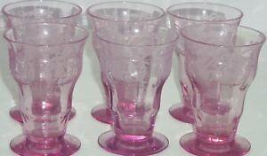 Balda-Floral-Etched-Purple-Juice-Glass-Depression-Vintage-Lot-of-6