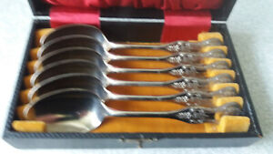 BOXED-SET-SIX-VINTAGE-ANTIQUE-ORNATE-SILVER-PLATED-TEASPOONS